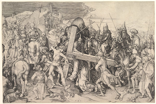 "Ilustracija: Martin Šongauer, ""Hristos nosi krst"", grafika, 1475-1480., kolekcija Metropoliten muzeja u Njujorku."