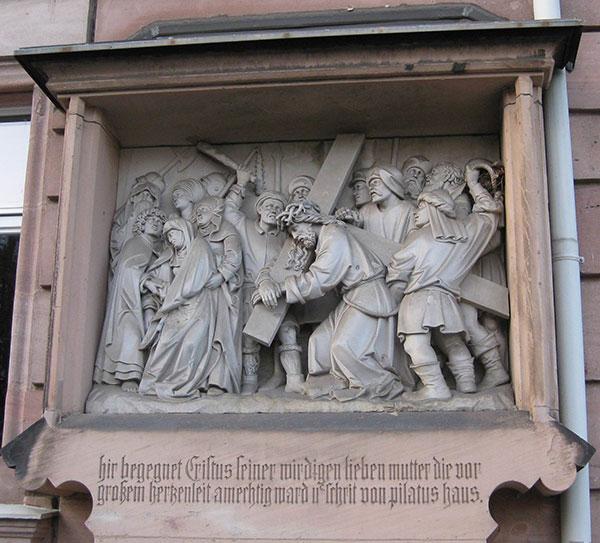 Ilustracija: Adam Kraft, Stanica krsta u Nirnbergu, Hristos sreće Bogorodicu (oko 1505.), izvor wikimedia.org